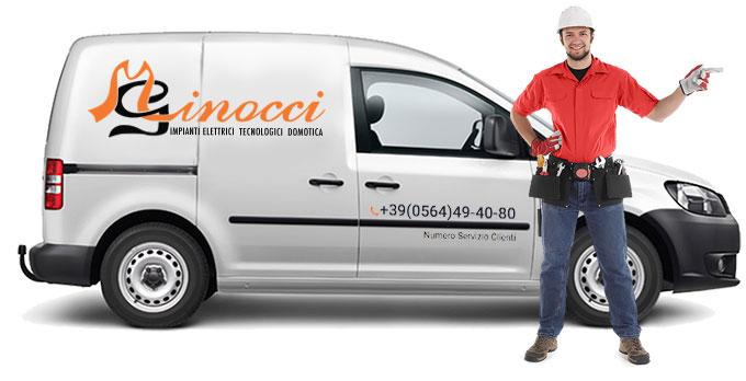 Minocci Impianti Elettrici Furgone con Logo